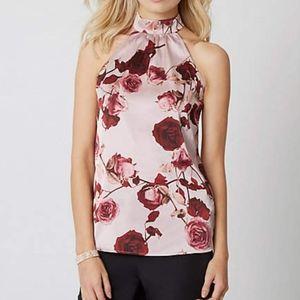 SATIN HALTER NECK Floral Print Blouse